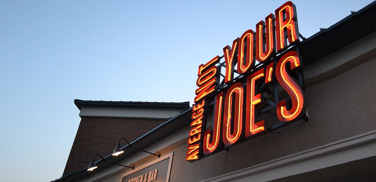 Not Your Average Joe&#039;s lights up the sky.