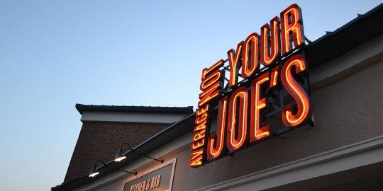 Not Your Average Joe's lights up the sky.