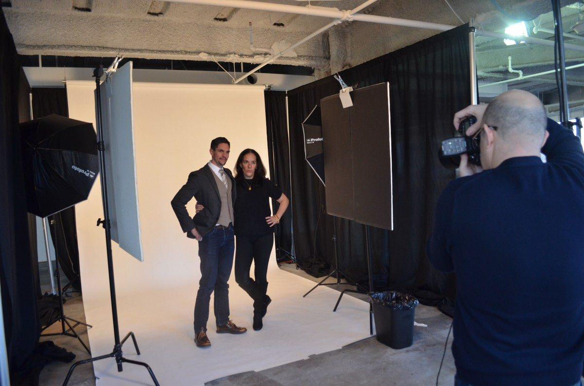 Denise Korn and Javier Cortés posing for 50 on Fire finalist photoshoot!